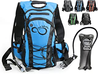 Live Infinitely Hydration 背包 2L / 3 升 TPU 防漏水袋 - 600D 涤纶 - 可调节胸垫肩、胸部和腰带 - 硅胶咬头和关闭阀 - 背包自行车和远足