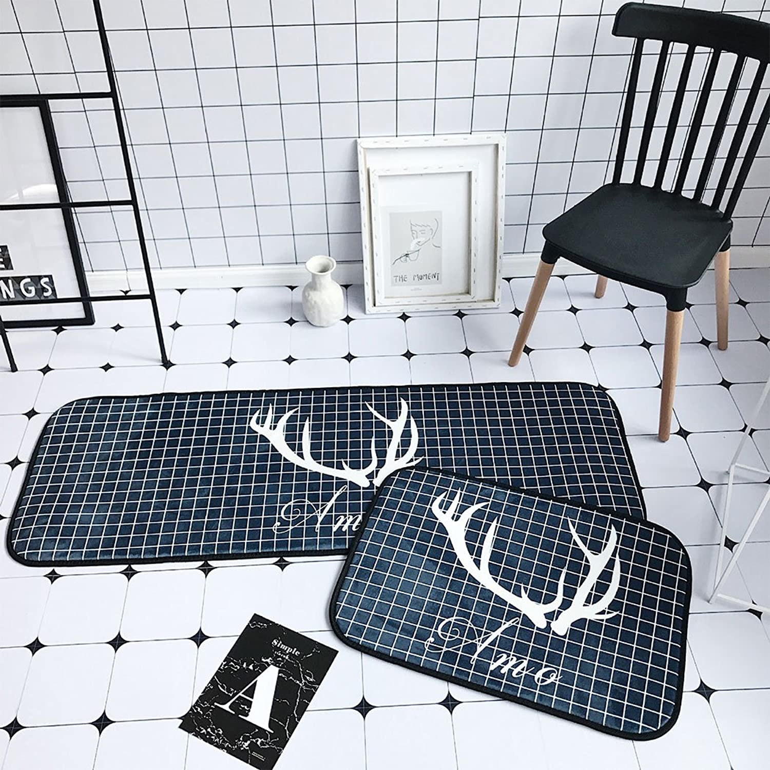 SUN-Shine Durable Home and Kitchen Rug Runners with Non-Slip Rubber Backing Indoor Doormats Floor Mat Carpet, Geometric Accent Antlers Pattern