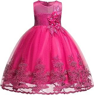 Sleeveless Chiffon Girl Dress Kids Lace 3D Flower Wedding Party Dresses