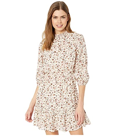 American Rose Eden Mock Neck 3/4 Sleeve Floral Dress (Ivory/Mauve) Women