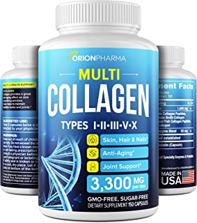 Multi Collagen Pills (Types I, II, III, V & X) - Marine Collagen & Bone Broth Capsules - Made in USA - Grass Fed Collagen ...