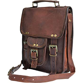 "11"" small Leather messenger bag shoulder bag cross body vintage messenger bag for women & men satchel man purse compatible with Ipad and tablet"