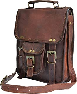 "11"" Small Leather Messenger Bag Shoulder Bag Cross Body Vintage Messenger Bag for Women & Men Satchel Man Purse competible with Ipad and Tablet"