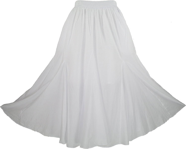 Beautybatik Women Cotton Boho Gypsy Long Maxi Godet Broomstick Flare Skirt Plus Size