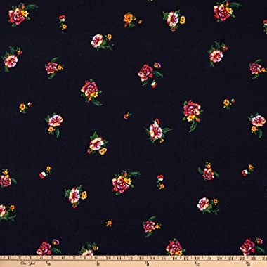 Fabric Merchants Splendid Apparel Rayon Challis Floral Navy/Coral Fabric