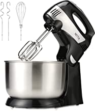 NETTA 2 in 1 Hand & Stand Mixer, 4.3L Stainless Steel Mixing Bowl,5 Speed Control,Turbo Function - 300W Black