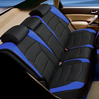 FH Group PU205013 Ultra Comfort Leatherette Bench Seat Cushions Blue/Black Color- Fit Most Car, Truck, SUV, or Van