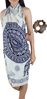 Iyara Gatsby Mandala Pattern Beachwear Cover up Swimwear Swimsuit Women Pareo Sarong and Unique Design Coconut Shell Brooch
