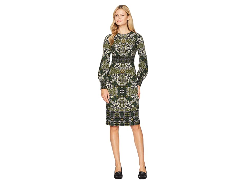 Maggy London Flemish Tile Scuba Crepe Sheath Dress (Black/Green) Women