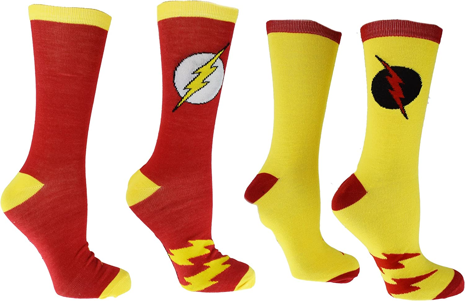 The Flash Casual Crew Sock 5 Pair 5 Pack Shoe Size 8-12 DC Comics