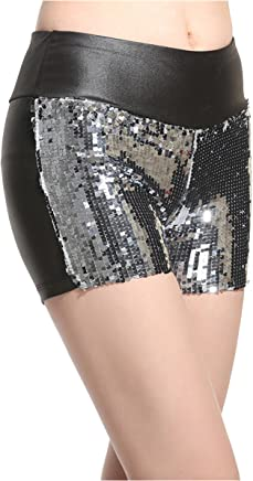 8dd6eec535346b Lotsyle Women's Shiny Sequins Faux Leather Shorts PU Hot Pants