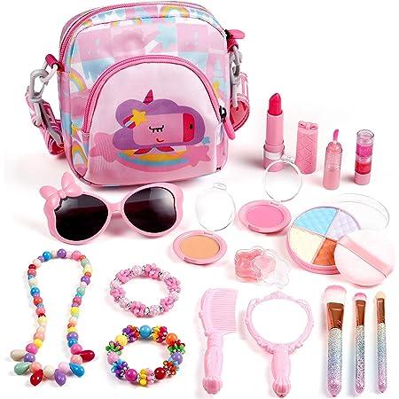 ARANEE Juguete de Maquillaje para niños, 17 Piezas Kit de Juguete de Maquillaje Lavable con Bolsa De Cosméticos para Juegos, Fiesta De Cumpleaños De Navidad