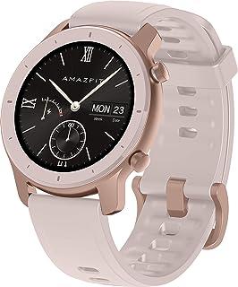 Amazfit GTR 42 mm smartwatch - met optische hartslagmeting - AMOLED-display - 5ATM waterdicht en siliconen armband, Cherry...