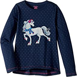 Ice Skating Horse Long Sleeve Tee (Toddler/Little Kids/Big Kids)