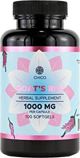 Goat's Rue 100 Softgels 1000 mg   Lactation Supplement   Increases Breast Milk Supply   Supports Mammary Tissue Growth   Alcohol-Free Liquid Capsules   Gluten-Free   Non-GMO