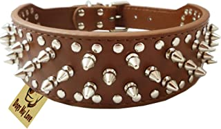 """19""""-22"""" Brown Faux Leather Spiked Studded Dog Collar 2"""" Wide, 37 Spikes 60 Studs, Pitbull, Boxer"""
