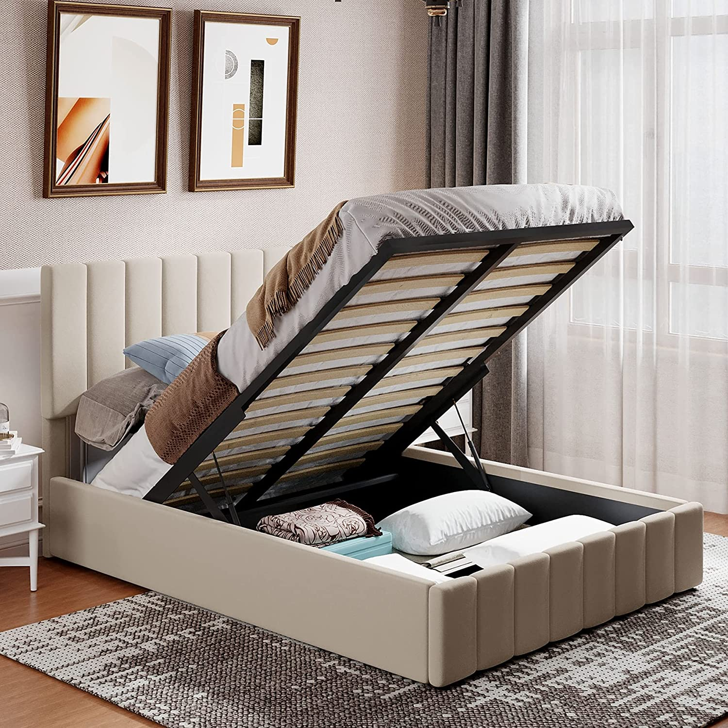Upholstered Full Bed Frame Max 42% OFF with Size Pl Underneath Time sale Storage