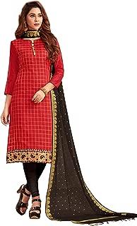 Maroosh Women'S Silk Fabric Red Color Chudidar Free Size Dress Material