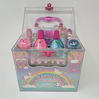 Girl's Carry All Cosmetic Set – 20+Piece Rainbow Unicorn Makeup Set for Girls Includes: Non-Toxic Glitter Nail Polish, Press On Nails, Glitter Eyeshadow, Tinted Lip balms, Glitter & A Carrying Case