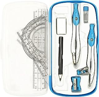 قطب نما ریاضی Lifreer برای مجموعه هندسه ، 10 عدد جعبه هندسه دانشجویی شامل جعبه ذخیره سازی ، خط کش ، زاویه سنج ، قطب نما ، پاک کن ، تیز کننده ، پر کننده های سربی ، مداد برای طراحی و نقاشی (آبی