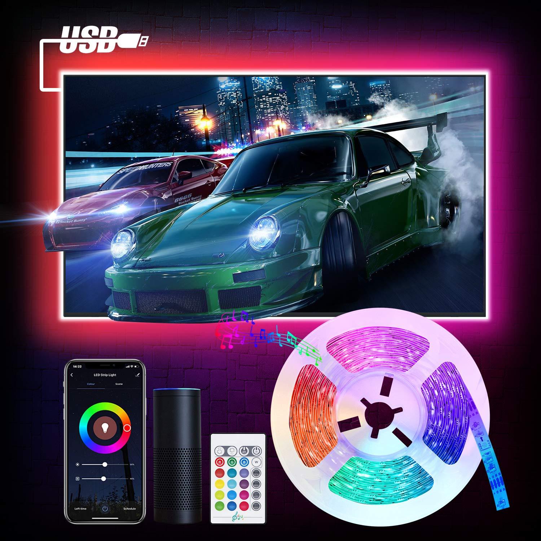 WiFi Tira Led Rgb para TV, Etersky 3M USB Tira Luces Led Decorativas Con Modo Música,