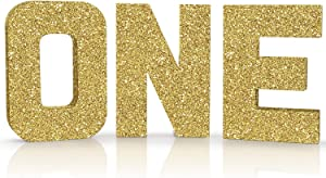 ONE Sign Gold Glitter Large First Birthday Sign Freestanding Cake Smash Photo Prop 1 Year Old Number Sign ONE Letters First Anniversary Celebration Party Decor
