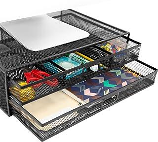 کوه - آن! Mesh Computer Monitor Stand Riser [Metal] Organizer Desk with Two Prawout Storage Storage for Desktop، Laptop، and Printer accessories and Office (Black)