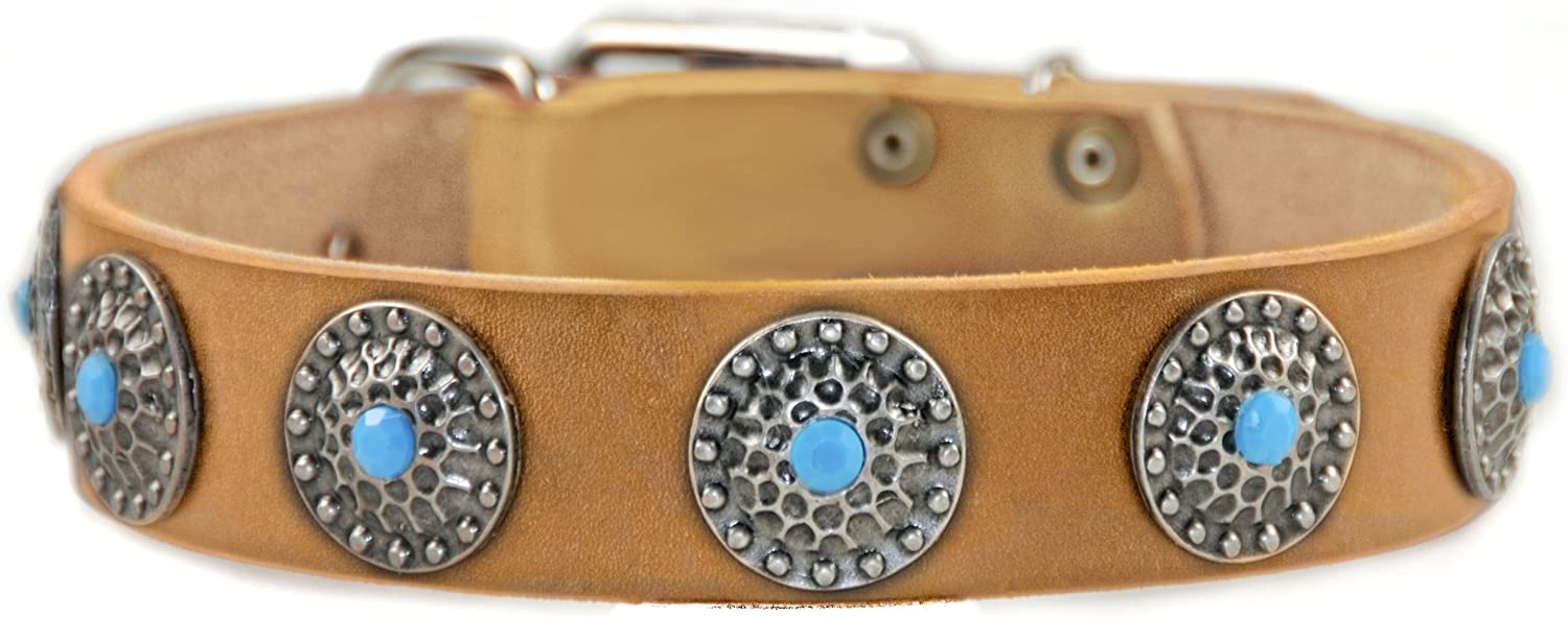 Dean and Tyler QUEENIE , Dog Collar with bluee Stones and Solid Nickel Hardware  Tan  Size 22Inch by 11 2Inch  Fits Neck 20Inch to 24Inch
