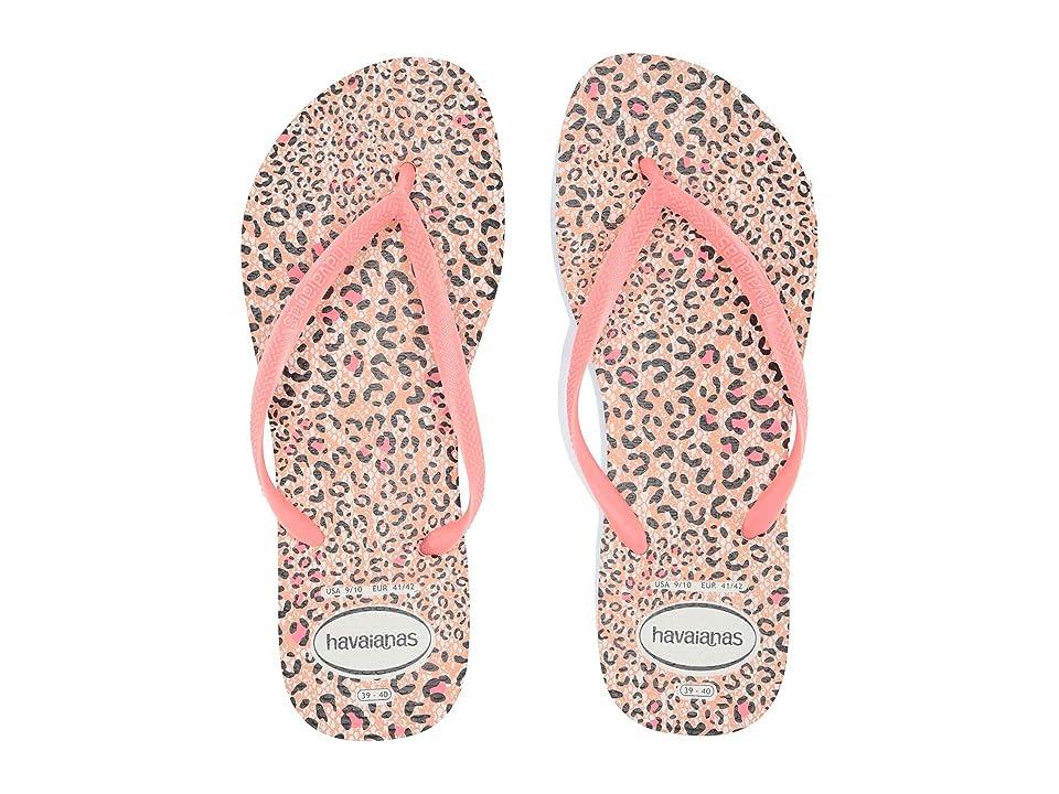 4d239dd46 Havaianas Slim Animals Flip Flops (White Coral New) Women