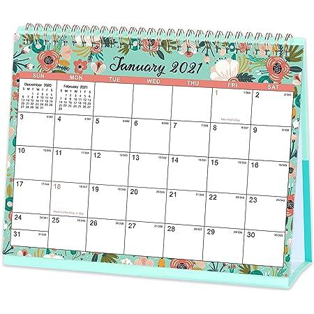 Small 2020 2021 Desk Calendar Cartoon Calendar for Creative Desktop Decoration to December 2021 Mini Desktop Standing Flip Calender