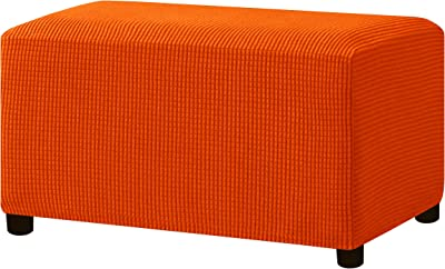 Hokway Stretch Ottoman Cover Storage Stool Slipcover Oversize Jacquard Rectangle Footstool Cover with Elastic Bottom (Orange)