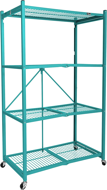 Origami Wheeled 4-Shelf Folding Metal Steel Wire Shelving Teal (21  x 36  x 60 )