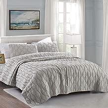 California Design Den Wavy S Ruffled Quilt Set, Full/Queen, Light Grey, 3-Piece