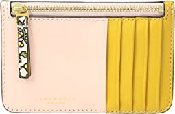Color Block Top Zip Card Case