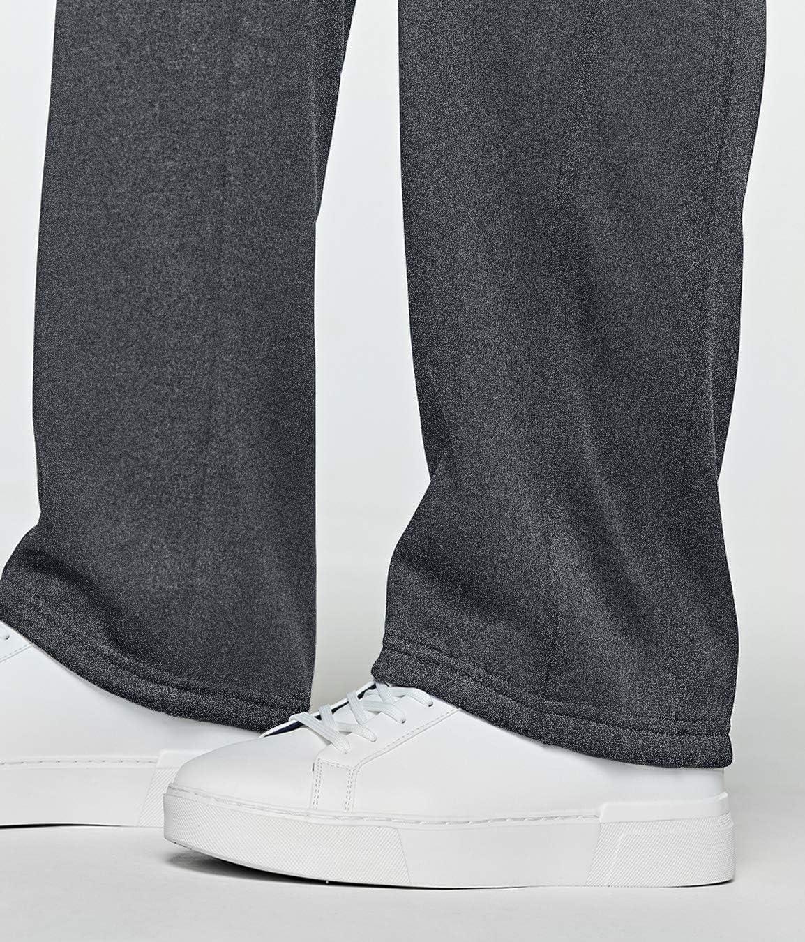 TSLA Mens Fleece Yoga Sweatpants Open Bottom Straight Leg Running Casual Loose Fit Athletic Pants with Pockets