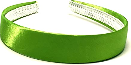 La Peach Fashions Brightly Coloured Satin Alice Bands Headband In 2.5 cm Width Lovely Colour Hairbands (Green)