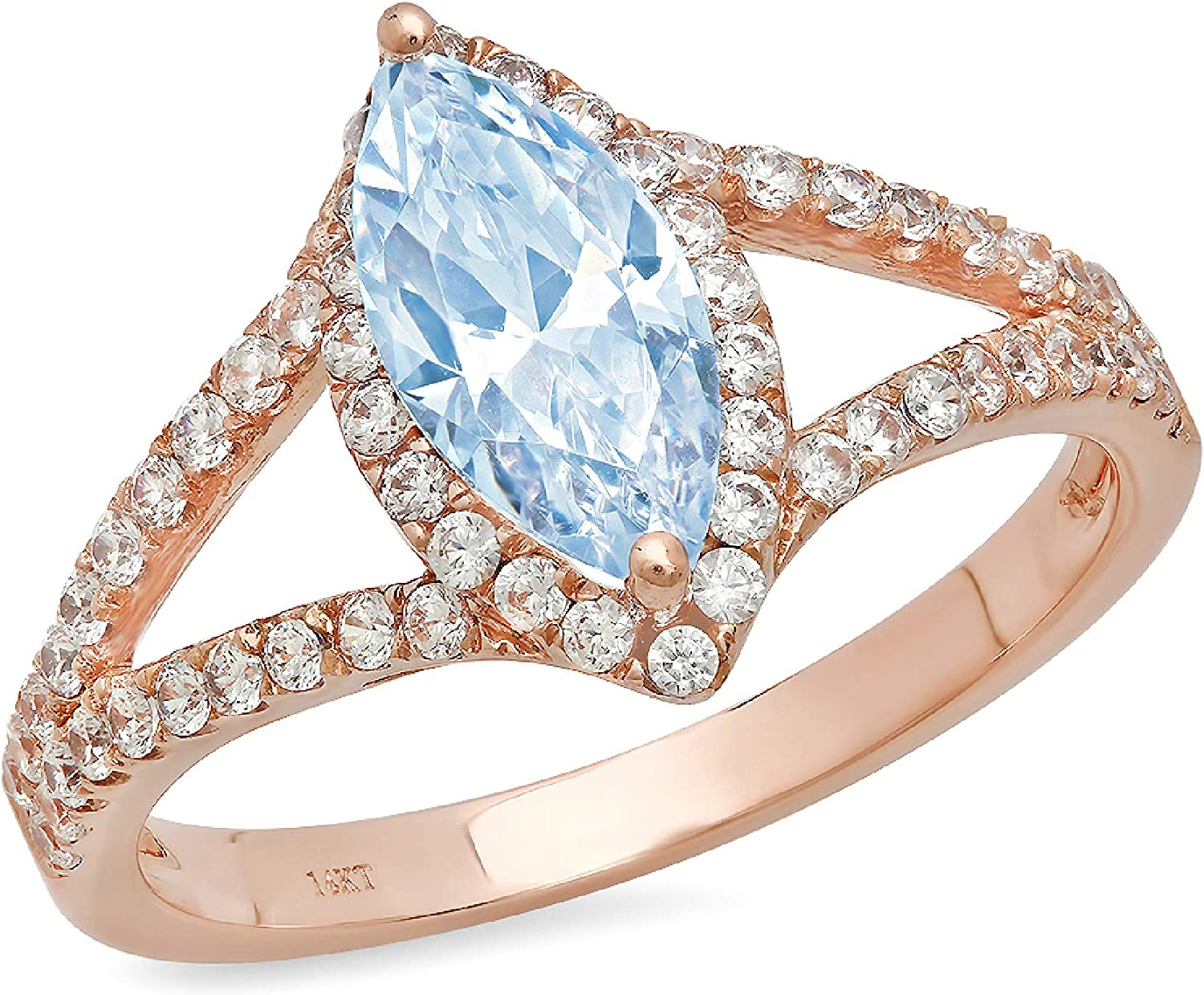 1.20 ct Marquise Cut Solitaire with Accent split shank Halo Natural Topaz Gem Stone Ideal VVS1 Engagement Promise Statement Anniversary Bridal Wedding Ring 14k Rose Gold