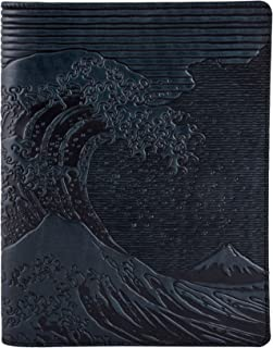 Genuine Leather Composition Notebook Cover with Insert, 8.25x10.25 Inches, Hokusai Wave, Navy Blue, Benchcrafted in the USA by Oberon Design