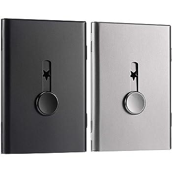 Flushbay 2個入り 名刺入れ ステンレス 薄型 サムドライブ カードケース メンズ レディース兼用 ビジネス用 名刺 ホルダー おしゃれ 10-18枚収納