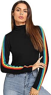 SweatyRocks Women's Leopard Print Long Sleeve Turtleneck T-Shirt Basic Blouse Tee Top