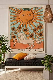 """Simpkeely Tarot Tapestry, The Sun Wall Hanging Tapestries Medieval Europe Divination Tapestry, Hippie Boho Wall Décor for Dorm Bedroom Living Room 59""""x 51"""