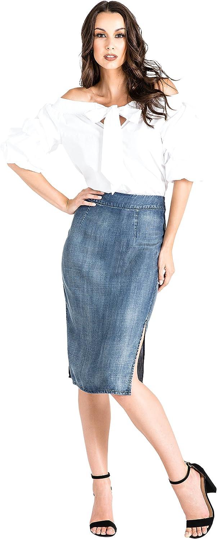Standards & Practices Modern Womens Tencel Side Splits High Waisted Pencil Skirt bluee