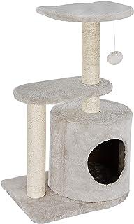 ZENY キャットタワー 高さ73cm 猫タワー 天然サイザル麻紐 爪とぎポール 頑丈耐久 ふわふわの猫部屋 コンパクトで省スペース 窓際に 子猫・シニア猫ちゃんも安心 高台が可愛い猫顔デザイン 上品なベージュ