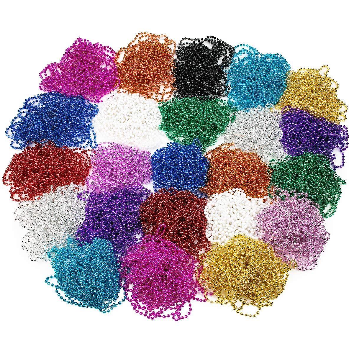 Mardi Gras 串珠项链 - 288 件金属散装派对礼品串珠项链适合儿童和成人 - 完美装扮服装和儿童时尚配饰 - Kidsco 出品