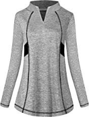 MOQIVGI Womens Long Sleeve Workout Tops Casual Sports Gym Yoga Running Half Zip Pullover