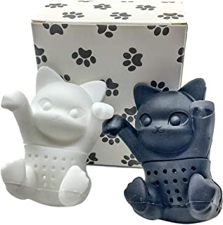 Tea Infuser Gift Set for Loose Leaf & Herbal Tea, Funny and Cute Silicone Cat Tea Strainer Pair in Unique Gift Box, Best C...