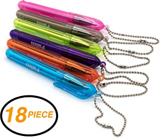 Emraw 18 Pieces Palm Ballpoint Pen With Key Ring - Assorted Colors Medium Line Ball Pen Key Chain Pen for Writing Keychain Clips Black Ink Fine Point Mini Pen & Mini Retractable Keychain Pen