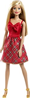 Barbie Holiday Surprise Dress Doll with Plaid Skirt and Red Bow - 11.5 Inches Tall