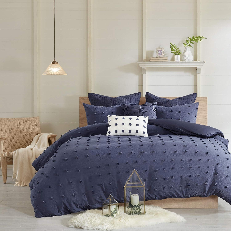 "Urban Habitat Duvet Set 100% Cotton Jacquard, Tufts Accent Shabby Chic All Season Comforter Cover, Matching Shams, Decorative Pillows, Full/Queen(88""x92""), Brooklyn, Indigo Blue"