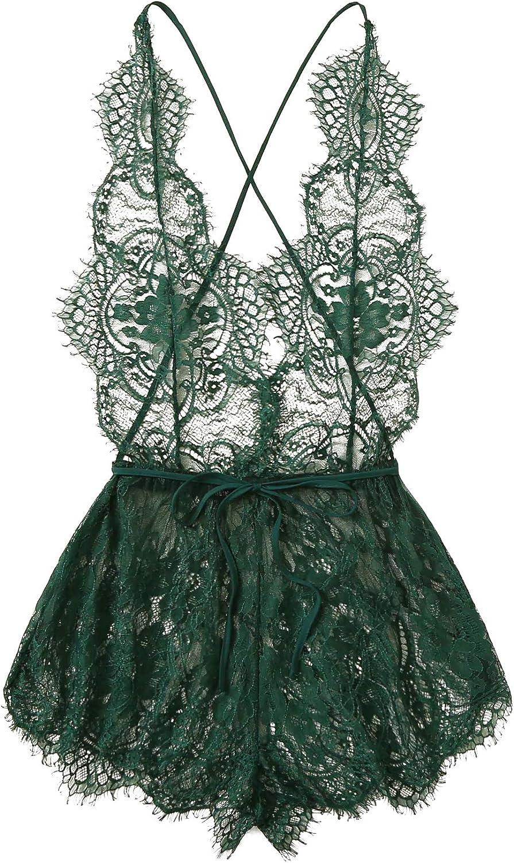 MakeMeChic Women's Lace Teddy Lingerie Deep V Backless Sleeveless Romper Sleepwear